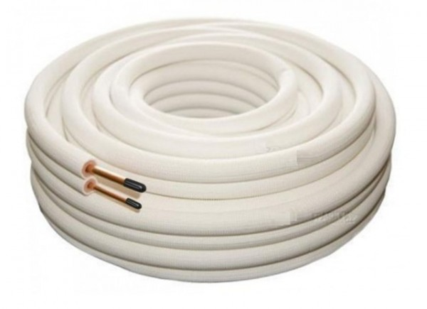 Hvite preisolerte kobberrør i kveil, 20m (div. leverandører)